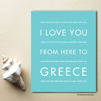 GREECE Travel Art Print | Gift Idea | HopSkipJumpPaper