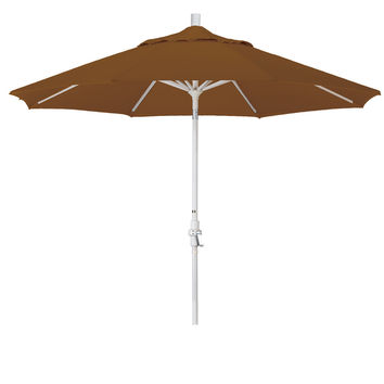 9 Foot Sunbrella 4A Fabric Aluminum Crank Lift Collar Tilt Patio Umbrella with Sand Pole