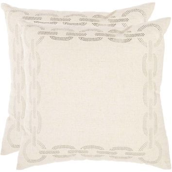 "Safavieh Sibine Pillow, Multiple Colors, Set of 2 Off-White 18"" x 18"""