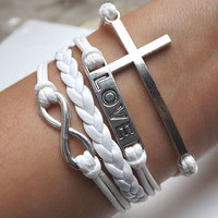 Bracelet - antique silver cross bracelet LOVE bracelet unlimited bracelet, white wax cord and leather braided bracelet