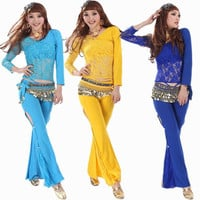 Belly Dance Practice Wear for Women  Sexy Belly Dance Pants and Tops Set 10 Colors