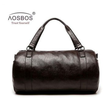 DCCK7N3 Aosbos New PU Leather Gym Bag Training Sports Bag for Women Men Fitness Bags Durable Outdoor Shoulder Traveling Duffel Handbags