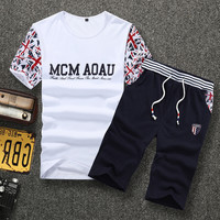 Summer Men Short Sleeve Shorts Casual Men's Fashion Sportswear Set [6544004163]