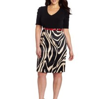 AGB Women's Plus-Size Ruched Short Sleeve V-Neck Dress with Empire Waistline