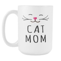 Cat Mom - White Coffee Mug