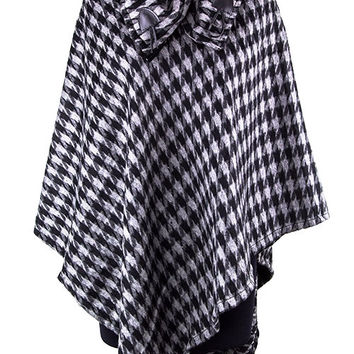 Off To The Races Houndstooth Poncho