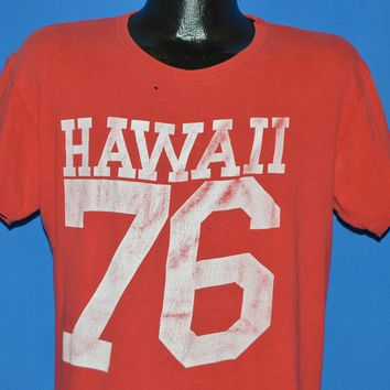 70s Hawaii 1976 Red Distressed Jersey t-shirt Large