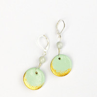 Leverback mint earrings. Golden and mint minimalist earrings. Light green dangle earrings. Lightweight clay earrings. Golden moon.