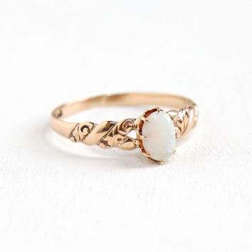 Antique 10K Rose Gold Opal Ring - Vintage Size 7 Early 1900s Edwardian Art Deco Solitaire Fine Jewelry Hallmarked Allsop Brothers