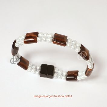 Magnetic Bracelet 3x Power White Hematite with Red Tigereye and Dual Cord Clasp