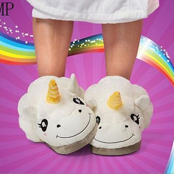 New Plush Unicorn Cotton Home Slippers for White Despicable Winter Warm Chausson Licor