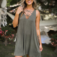Life By The Sea Cage Detail Shift Dress (Vintage Olive)