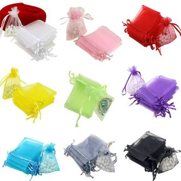 20 x Organza Gift Bags. Different Colours Available. 7cm x 9cm. Pouches for Gifts, Wedding Favours,  Party Games and Jewellery Packaging.