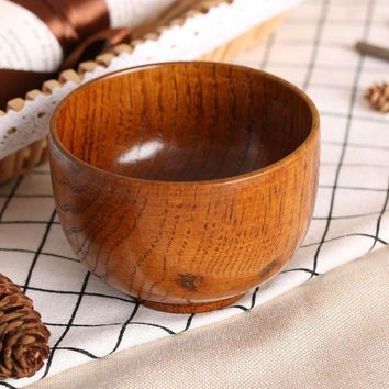 DCCKWJ7 1PC New Cute Natual Wood Round Salad Bowl Kitchen Bamboo Handmade Children Fruit Rice Bowl