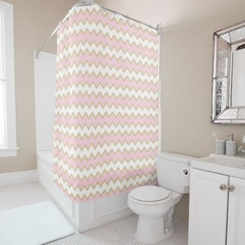 Pastel Baby Pink and Gold Chevron Girl Shower Curtain