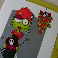 Zombie Holiday CardsUnder the Miseltoes Set of 5 by littletoad