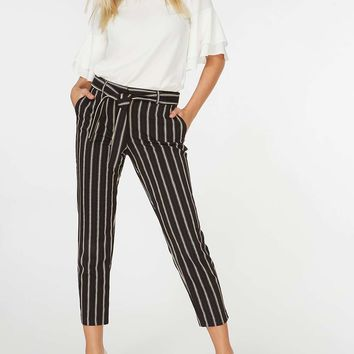 Red and Black Stripe Textured Trousers | Dorothyperkins