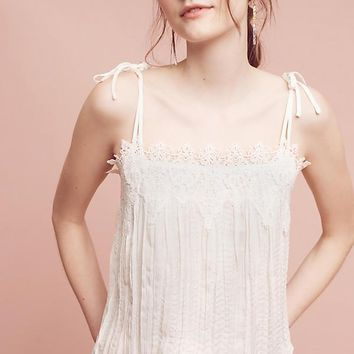 Anthropologie White Lace Trimmed Camisole