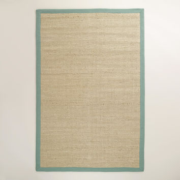 Blue Bordered Chunky Weave Jute Rug - World Market