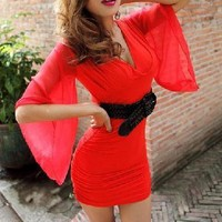 Alexia Long Open Sleeve Dress (Red)