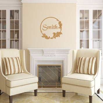 Retro Style B Frame with Name Vinyl Wall Decal 22496