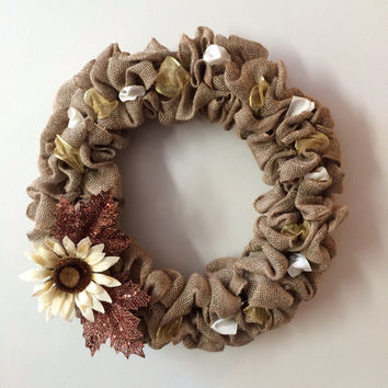 "Fall Sunflower Wreath Burlap Ribbon Maple Leaves Sparkle 22"" Thanksgiving"