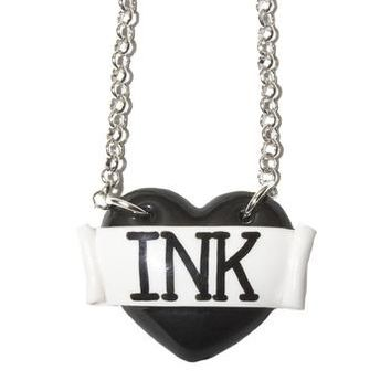 Ink Single Heart Necklace by Bete Noire Jewellery