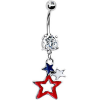 Patriotic Stars Dual Gem American Belly Ring | Body Candy Body Jewelry