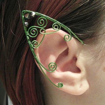 Fairy Elf Ear Cuffs in Emerald Green - Wire Wrap Elven Ear Cuffs - Extra long
