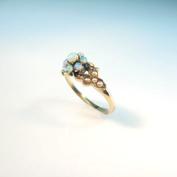 Opal Ring Victorian Flower Seed Pearl 9K Gold Antique 1880s Jewelry Size 7.5