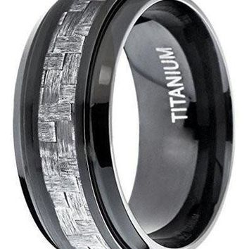 CERTIFIED 9MM Black Titanium Men's Wedding Band Ring with Wide Gray Carbon Fiber Inlay, Comfort Fit