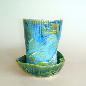 tea cup and cookie bowl by Clayshapes on Etsy