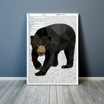 Modern art Sun bear print Colorful decor Animal poster TOA85-1