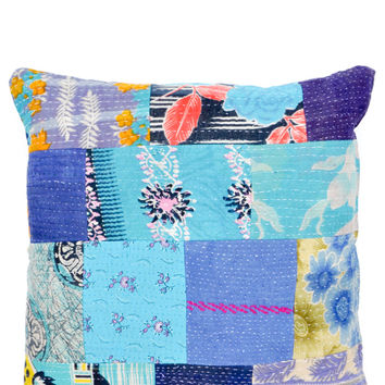 Cerulean Kantha Patchwork Pillow, 18""