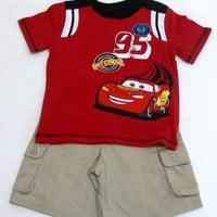Disney Cars Red Shirt and Khaki Short Set, 12 M