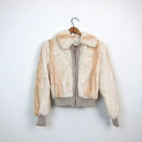 Vintage 70s Rabbit Fur Coat Fur Bomber Jacket White Brown SMALL FIT Cropped Fur Jacket Fall Winter Fur Coat Zip Up Fur Coat Womens XXS