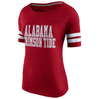 Alabama Crimson Tide Nike Women's Rewind Football Tri-Blend T-Shirt - Crimson