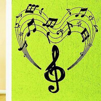 Wall Stickers Vinyl Decal Heart Notes Music Positive For Living Room Unique Gift (z1609)