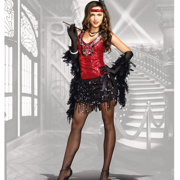 Red & Black Sequin What's Shakin' Fringe Flapper Costume