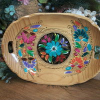 Oval Platter Colorful Mexican Tray Wooden Folk Art Bowl Floral Wall Decor Hand Painted Decorative Indoor Outdoor Dish
