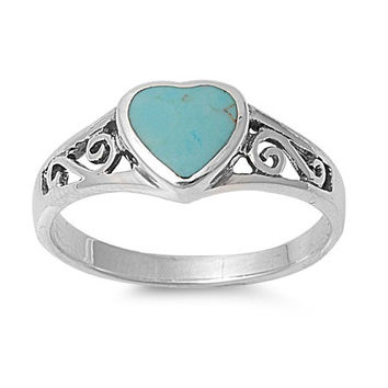 Turquoise Heart Sterling Silver Ring
