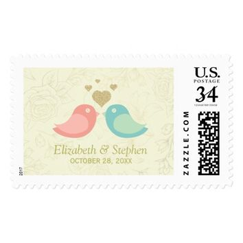 Elegant Love Birds & Rose Watermark Wedding Shower Postage