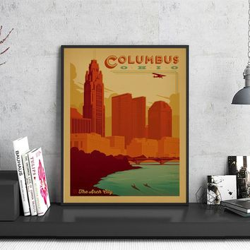 America Columbus OHIO Arch Pop City Travel Poster Retro Kraft Paper Vintage Prints Poster Wall Sticker Home Bar Pub Cafe Decor