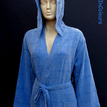 Turkish blue colour stone washed exclusive quality soft cotton hooded long  thick bathrobe, long dresssing gown.