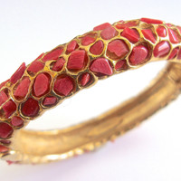 Genuine Coral SWOBODA Hinged Bracelet, Gold Plated, Embedded Nuggets, Vintage
