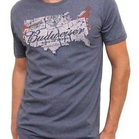 Junk Food Budweiser Map Vintage Inspired Heather Tee T-Shirt