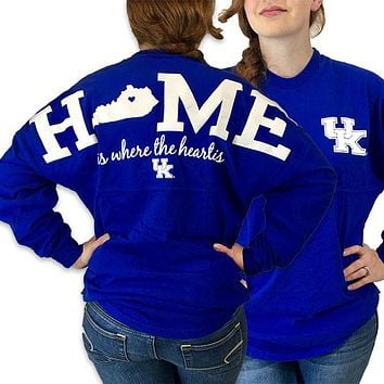 UK Kentucky Wildcats Women's Logo Home Spirit Jersey Long Sleeve Oversized Top Shirt