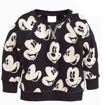 2017 Girls Boys Sweatshirts Terry Cotton Mickey Minnie Mouse Casual Sport Sweater For Children Hoodie Coats Autumn Kids Clothes