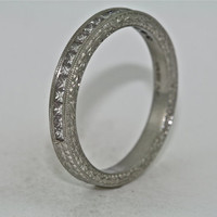 Platinum Hand Engraved Diamond Wedding Band