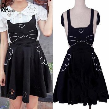 Japan Lolita Mori Soft Sister Girl Kawaii Embroidery Love Cat Hollow Out Paw Pleated Suspender Skirt Princess Strap Robe Student